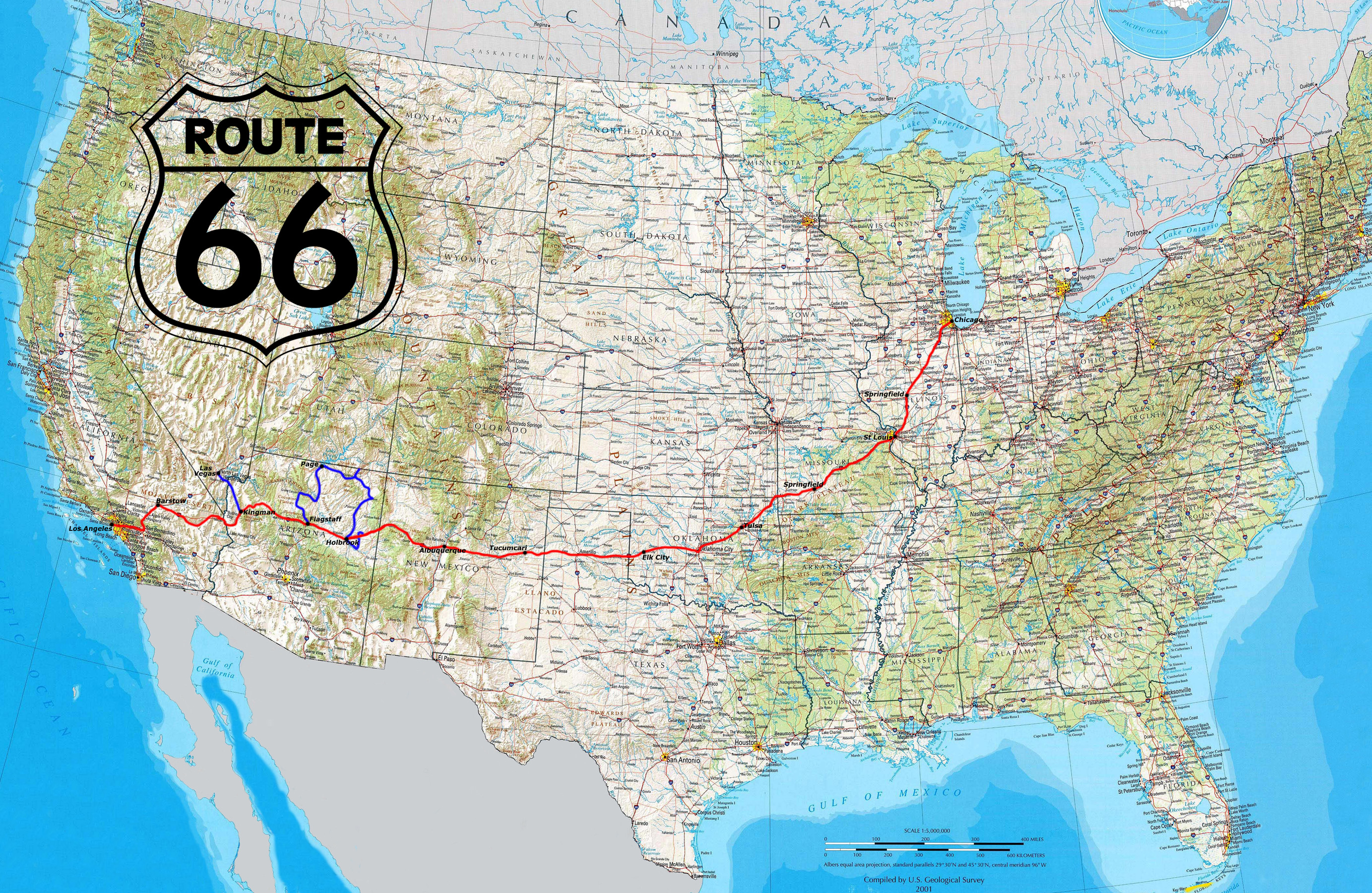 Get Your Kicks On Route    Doggone Blues - Map of us 66