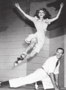 "Rita Hayworth and Fred Astaire show the ""Shorty George"" step"